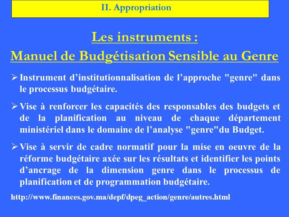 Les instruments : Manuel de Budgétisation Sensible au Genre Instrument dinstitutionnalisation de lapproche