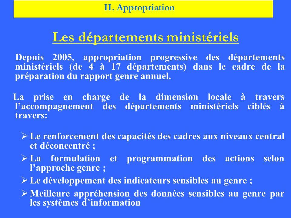 Depuis 2005, appropriation progressive des départements ministériels (de 4 à 17 départements) dans le cadre de la préparation du rapport genre annuel.