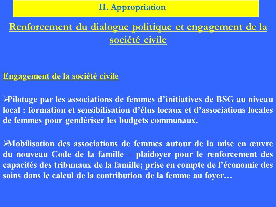 Renforcement du dialogue politique et engagement de la société civile Engagement de la société civile Pilotage par les associations de femmes dinitiat