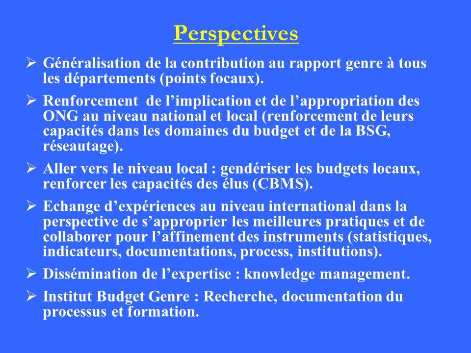 Perspectives Généralisation de la contribution au rapport genre à tous les départements (points focaux). Renforcement de limplication et de lappropria