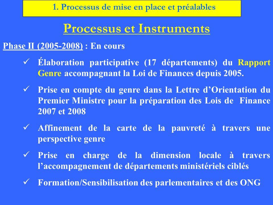 Processus et Instruments Phase II (2005-2008) : En cours Élaboration participative (17 départements) du Rapport Genre accompagnant la Loi de Finances