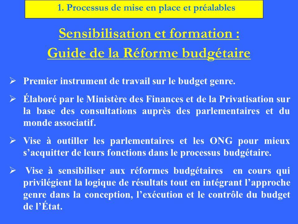 Sensibilisation et formation : Guide de la Réforme budgétaire Premier instrument de travail sur le budget genre. Élaboré par le Ministère des Finances