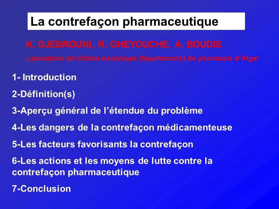 La contrefaçon pharmaceutique 1- Introduction 2-Définition(s) 3-Aperçu général de létendue du problème 4-Les dangers de la contrefaçon médicamenteuse