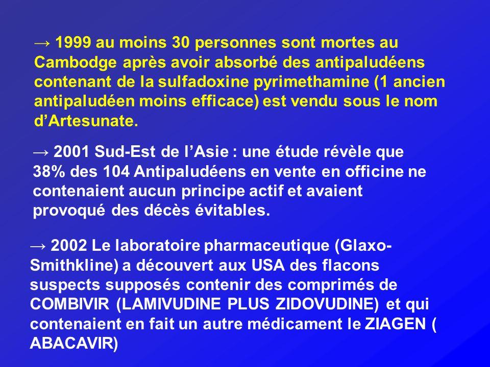 1999 au moins 30 personnes sont mortes au Cambodge après avoir absorbé des antipaludéens contenant de la sulfadoxine pyrimethamine (1 ancien antipalud