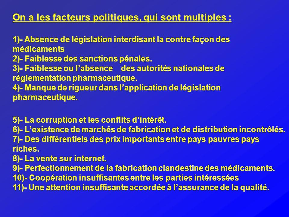 On a les facteurs politiques, qui sont multiples : 1)- Absence de législation interdisant la contre façon des médicaments 2)- Faiblesse des sanctions