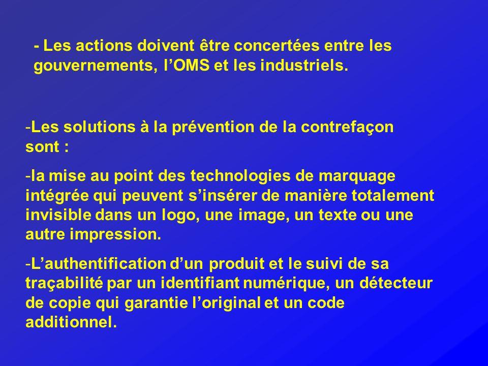 -Les solutions à la prévention de la contrefaçon sont : -la mise au point des technologies de marquage intégrée qui peuvent sinsérer de manière totale