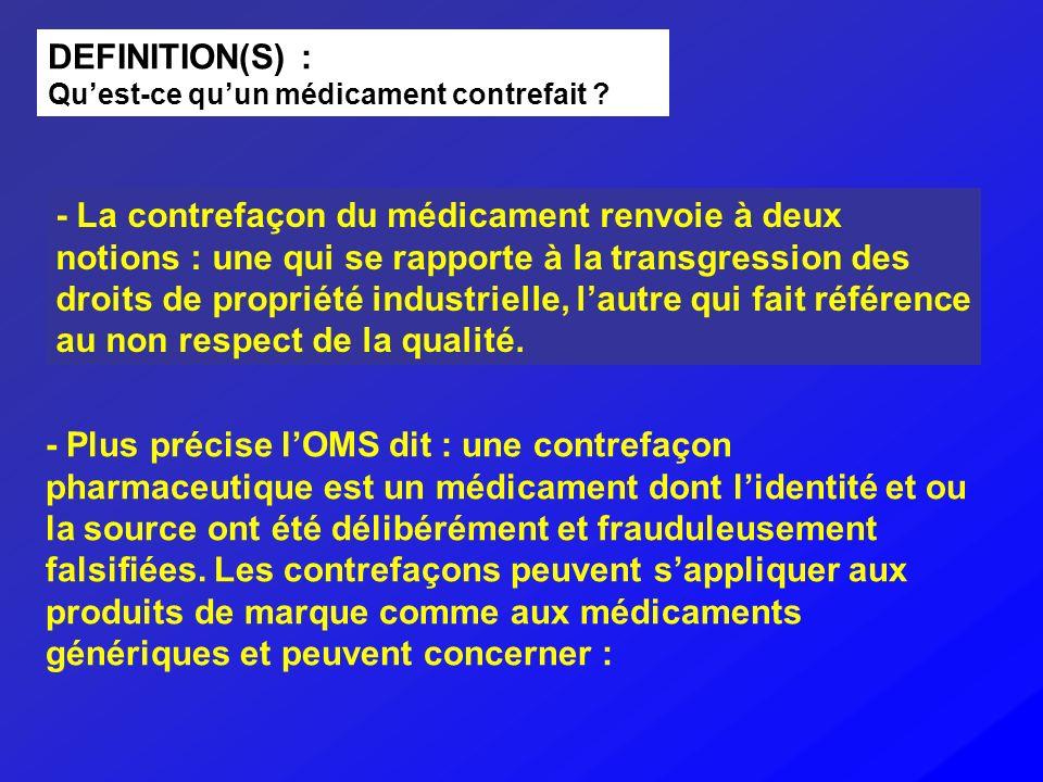 DEFINITION(S) : Quest-ce quun médicament contrefait ? - La contrefaçon du médicament renvoie à deux notions : une qui se rapporte à la transgression d