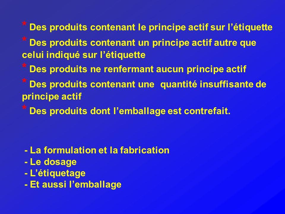 * Des produits contenant le principe actif sur létiquette * Des produits contenant un principe actif autre que celui indiqué sur létiquette * Des prod