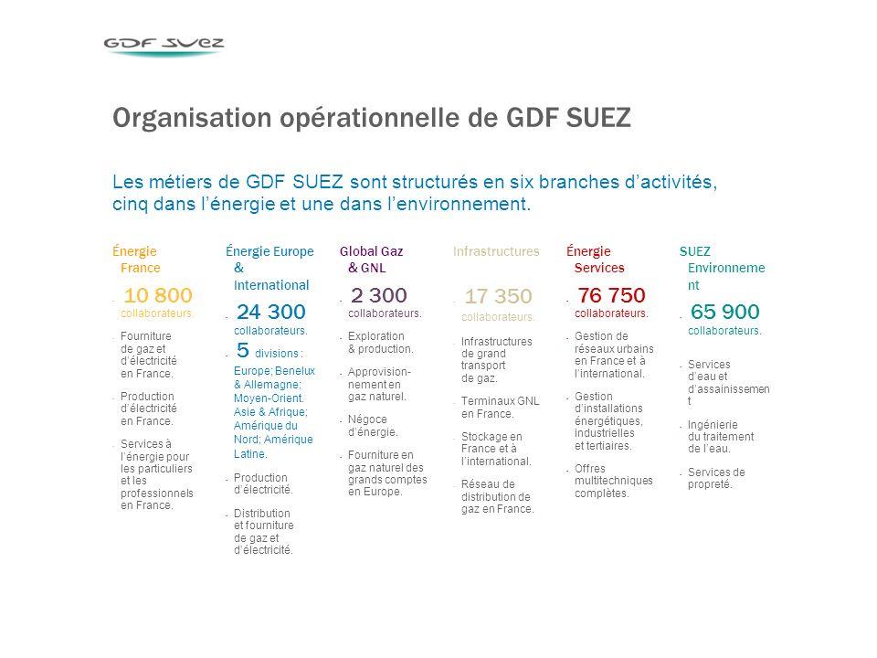 4 Organisation opérationnelle de GDF SUEZ Les métiers de GDF SUEZ sont structurés en six branches dactivités, cinq dans lénergie et une dans lenvironnement.