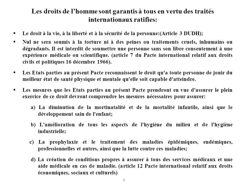 Les droits de lhomme sont garantis à tous en vertu des traités internationaux ratifies: Le droit à la vie, à la liberté et à la sécurité de la personn