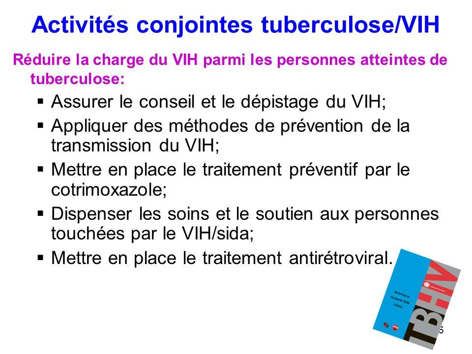5 Activités conjointes tuberculose/VIH Réduire la charge du VIH parmi les personnes atteintes de tuberculose: Assurer le conseil et le dépistage du VI