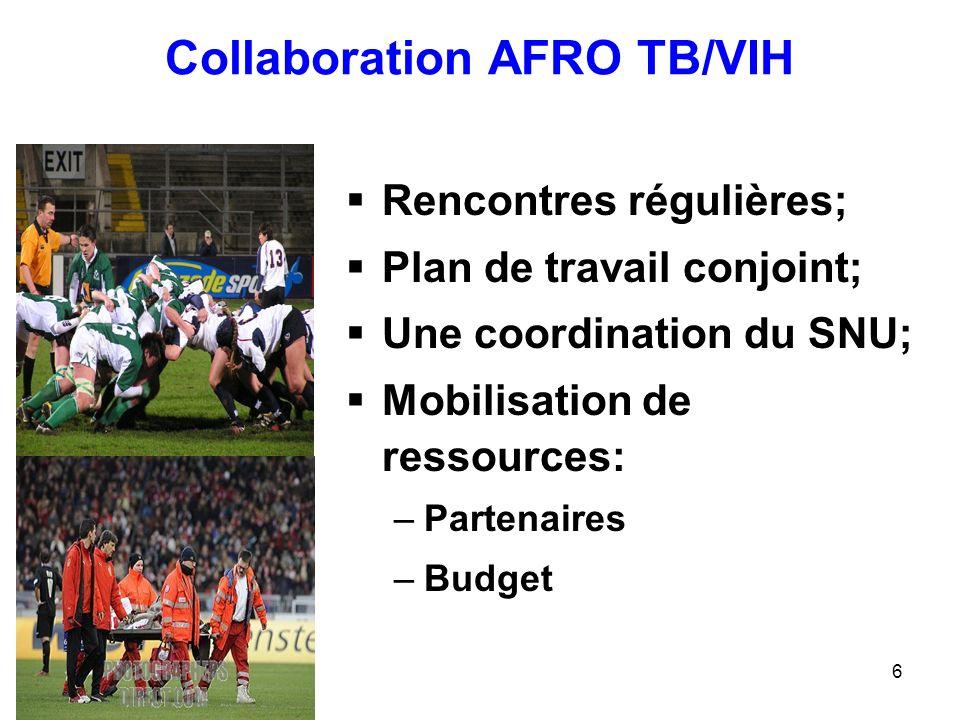 6 Collaboration AFRO TB/VIH Rencontres régulières; Plan de travail conjoint; Une coordination du SNU; Mobilisation de ressources: –Partenaires –Budget