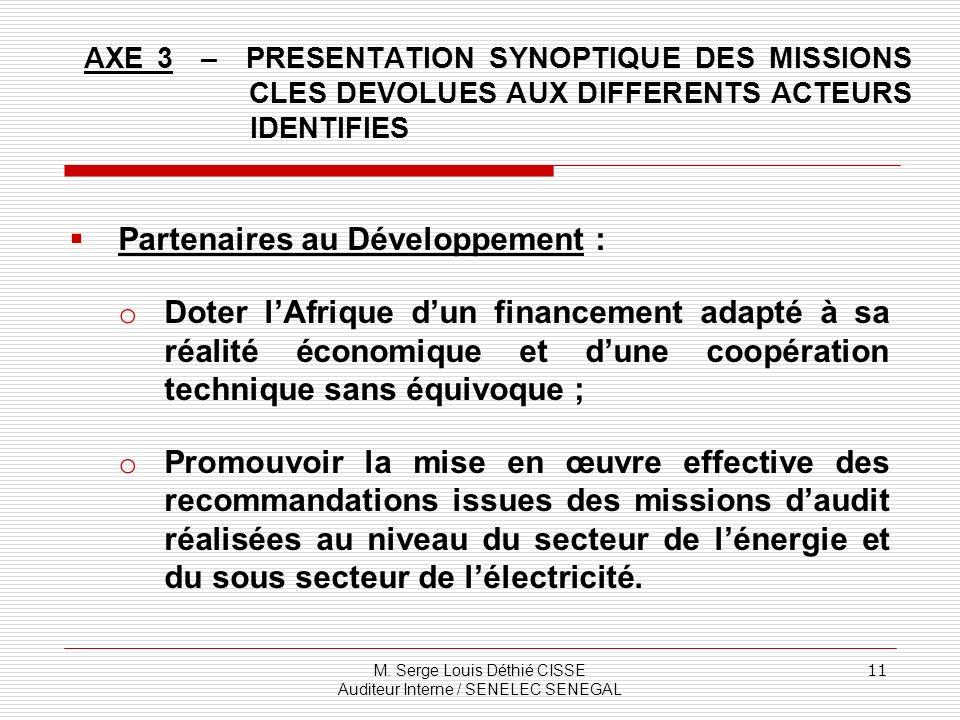 M. Serge Louis Déthié CISSE Auditeur Interne / SENELEC SENEGAL 11 AXE 3 – PRESENTATION SYNOPTIQUE DES MISSIONS CLES DEVOLUES AUX DIFFERENTS ACTEURS ID