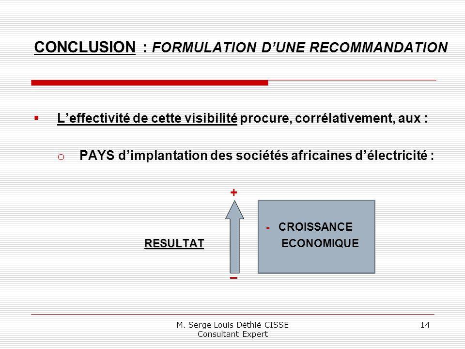 Leffectivité de cette visibilité procure, corrélativement, aux : o PAYS dimplantation des sociétés africaines délectricité : + - CROISSANCE RESULTAT RESULTAT ECONOMIQUE – M.