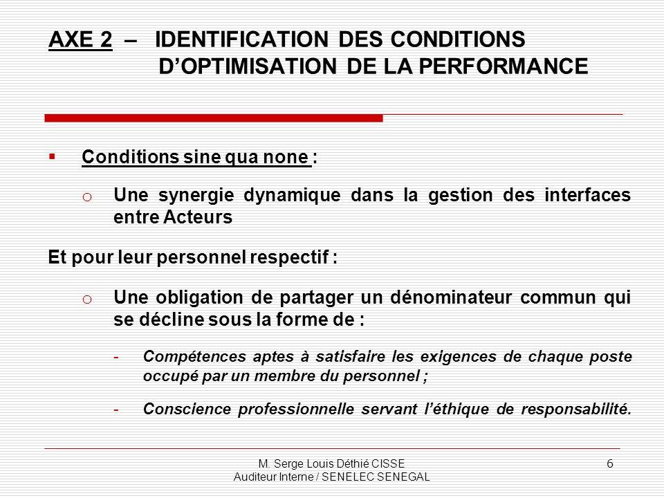 M. Serge Louis Déthié CISSE Auditeur Interne / SENELEC SENEGAL 6 AXE 2 – IDENTIFICATION DES CONDITIONS DOPTIMISATION DE LA PERFORMANCE Conditions sine