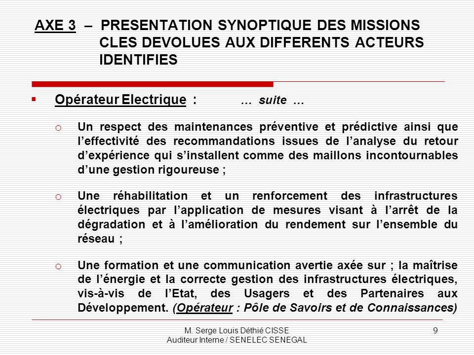 M. Serge Louis Déthié CISSE Auditeur Interne / SENELEC SENEGAL 9 Opérateur Electrique : … suite … o Un respect des maintenances préventive et prédicti