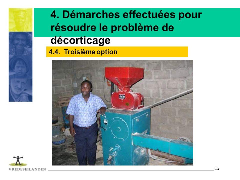 12 4. Démarches effectuées pour résoudre le problème de décorticage 4.4. Troisième option
