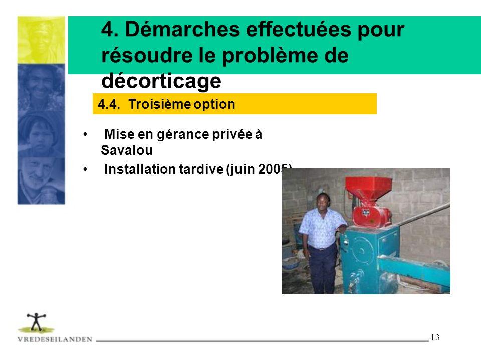13 4. Démarches effectuées pour résoudre le problème de décorticage Mise en gérance privée à Savalou Installation tardive (juin 2005) 4.4. Troisième o