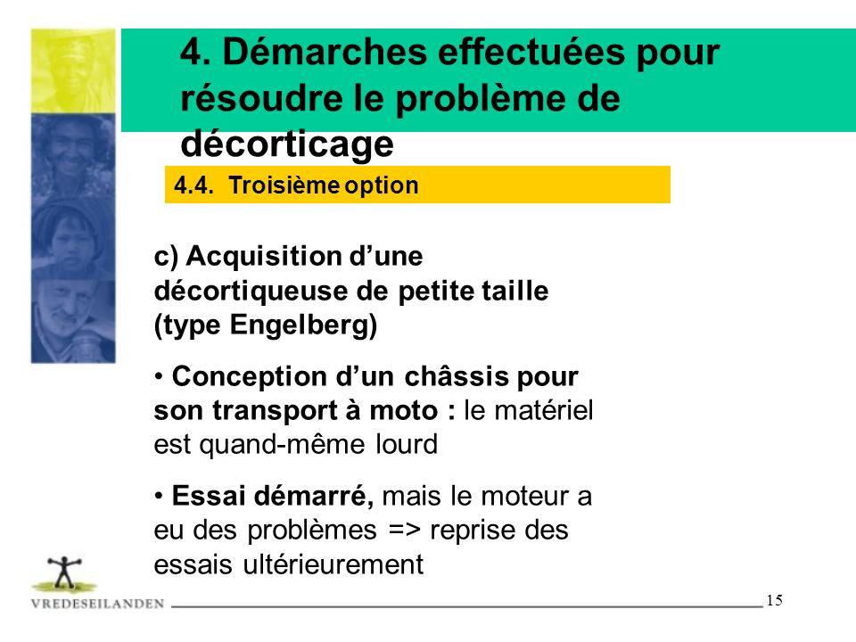 15 4. Démarches effectuées pour résoudre le problème de décorticage c) Acquisition dune décortiqueuse de petite taille (type Engelberg) Conception dun