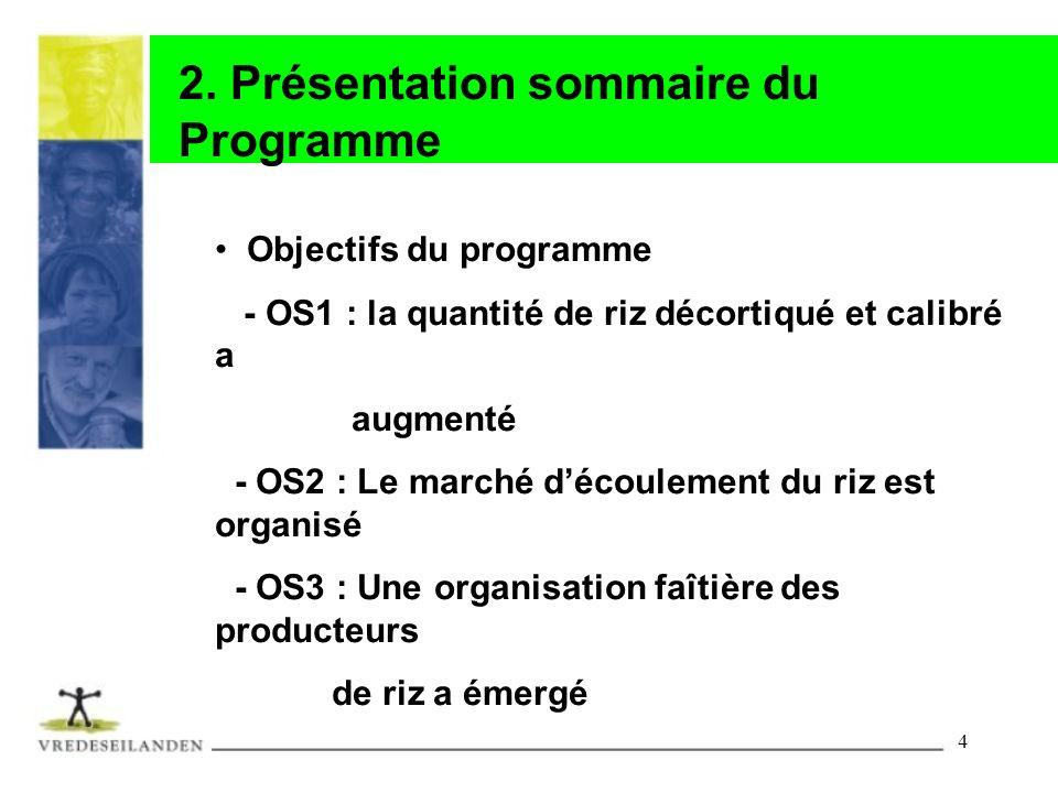 4 2. Présentation sommaire du Programme Objectifs du programme - OS1 : la quantité de riz décortiqué et calibré a augmenté - OS2 : Le marché découleme