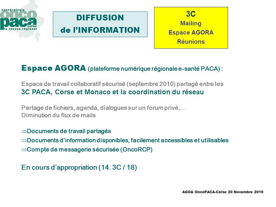AGOA OncoPACA-Corse 20 Novembre 2010 3C Mailing Espace AGORA Réunions DIFFUSION de lINFORMATION Espace AGORA (plateforme numérique régionale e-santé P