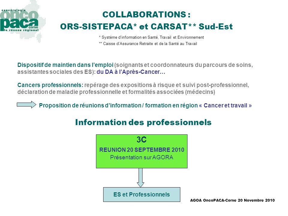 AGOA OncoPACA-Corse 20 Novembre 2010 3C REUNION 20 SEPTEMBRE 2010 Présentation sur AGORA ES et Professionnels COLLABORATIONS : ORS-SISTEPACA* et CARSA