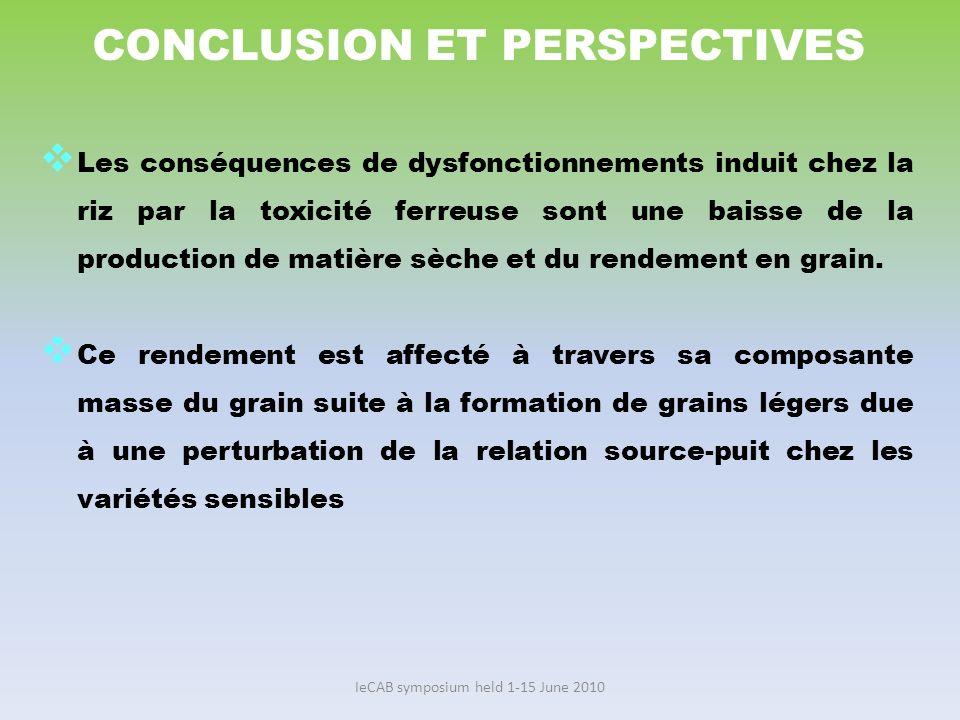 IeCAB symposium held 1-15 June 2010 CONCLUSION ET PERSPECTIVES Les conséquences de dysfonctionnements induit chez la riz par la toxicité ferreuse sont