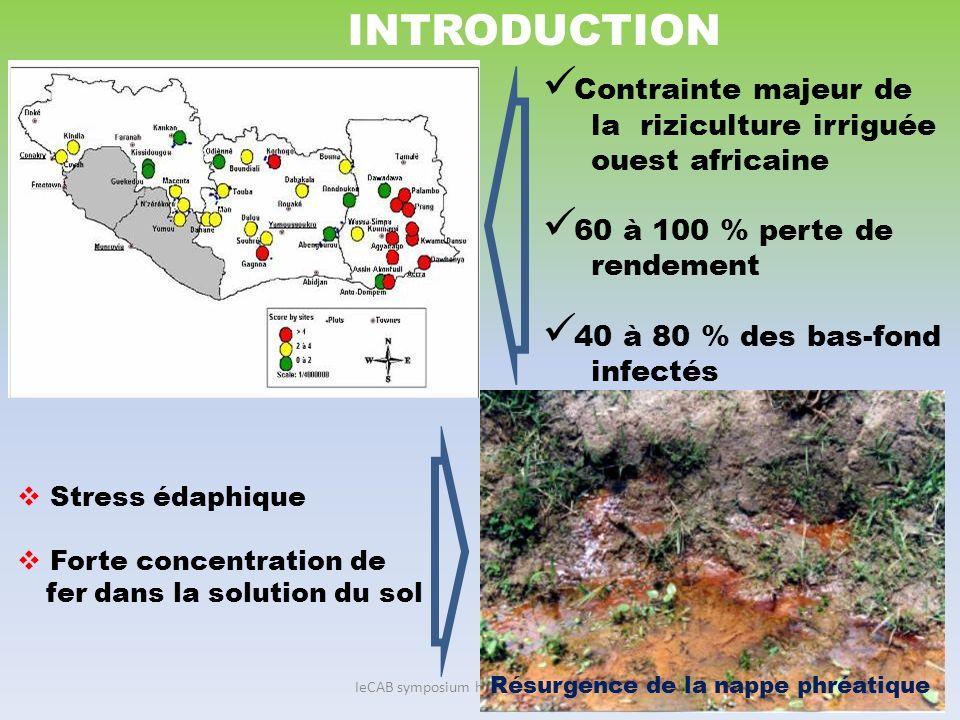IeCAB symposium held 1-15 June 2010 OBJECTIF : Déterminer leffet de la toxicité ferreuse sur le rendement et les composantes du rendement du riz cultivé en condition de toxicité ferreuse.