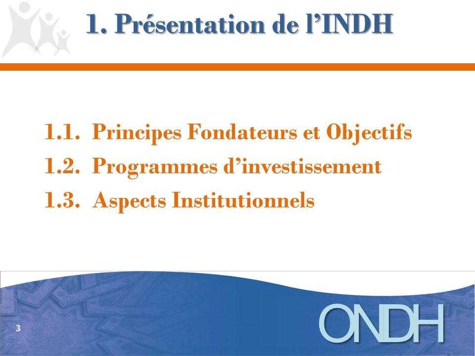 Lancée par Sa Majesté le Roi Mohamed VI, le 18 mai 2005, lINDH a été définie comme un « chantier de règne », c est-à-dire comme une priorité nationale se déclinant sur une longue période.
