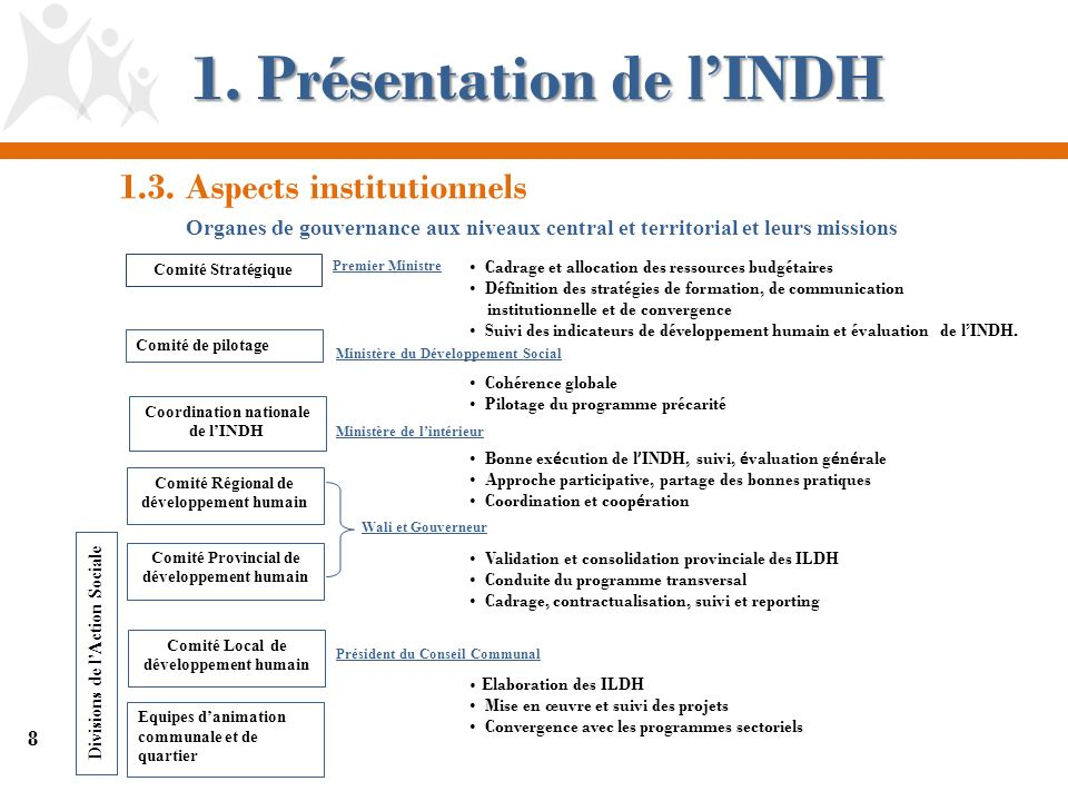 8 1. Présentation de lINDH Comité Stratégique Comité de pilotage Comité Provincial de développement humain Comité Local de développement humain Comité