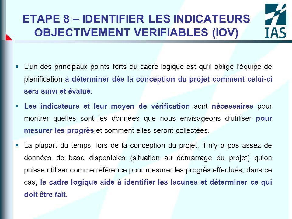 ETAPE 8 – IDENTIFIER LES INDICATEURS OBJECTIVEMENT VERIFIABLES (IOV) Lun des principaux points forts du cadre logique est quil oblige léquipe de plani