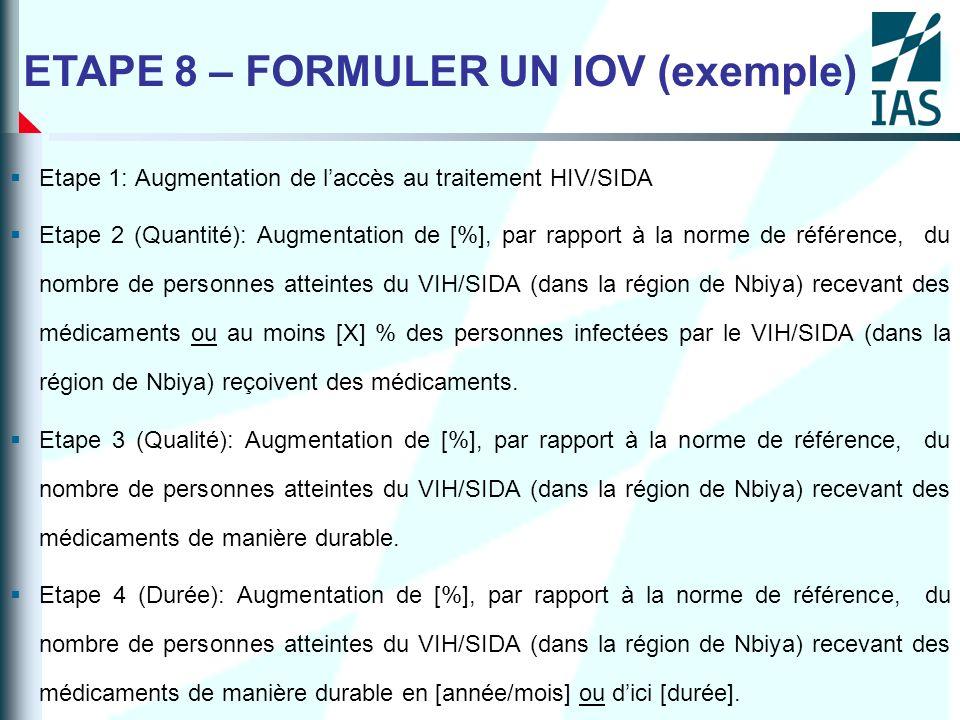Etape 1: Augmentation de laccès au traitement HIV/SIDA Etape 2 (Quantité): Augmentation de [%], par rapport à la norme de référence, du nombre de pers