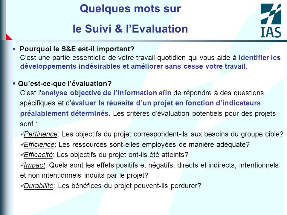 Quelques mots sur le Suivi &lEvaluation (suite) Quest-ce-que le suivi.