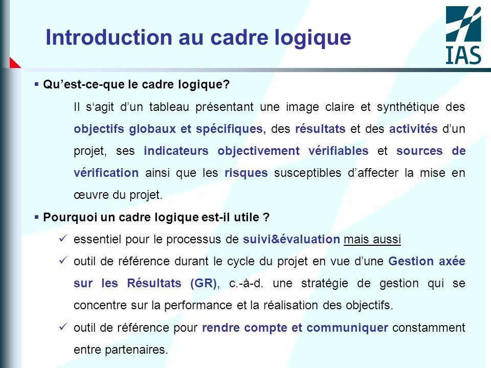 ETAPE 8 – IDENTIFIER LES INDICATEURS OBJECTIVEMENT VERIFIABLES (IOV) Lun des principaux points forts du cadre logique est quil oblige léquipe de planification à déterminer dès la conception du projet comment celui-ci sera suivi et évalué.