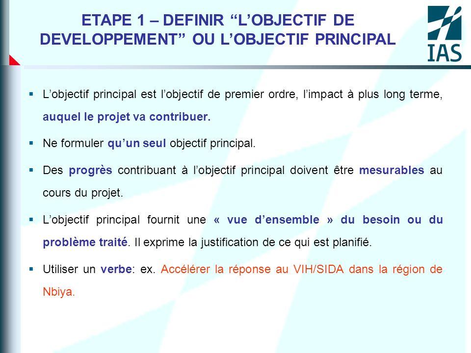 Lobjectif principal est lobjectif de premier ordre, limpact à plus long terme, auquel le projet va contribuer. Ne formuler quun seul objectif principa