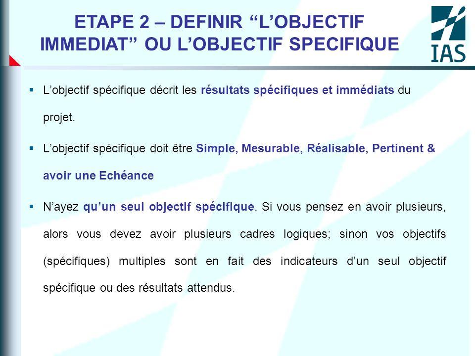 Lobjectif spécifique décrit les résultats spécifiques et immédiats du projet. Lobjectif spécifique doit être Simple, Mesurable, Réalisable, Pertinent
