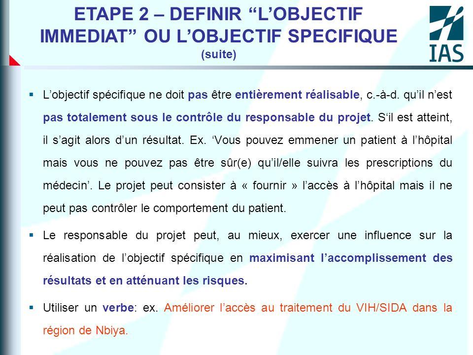 Lobjectif spécifique ne doit pas être entièrement réalisable, c.-à-d. quil nest pas totalement sous le contrôle du responsable du projet. Sil est atte