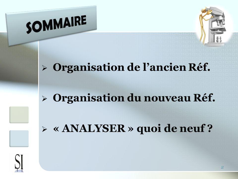 Organisation de lancien Réf. Organisation du nouveau Réf. « ANALYSER » quoi de neuf ? 2