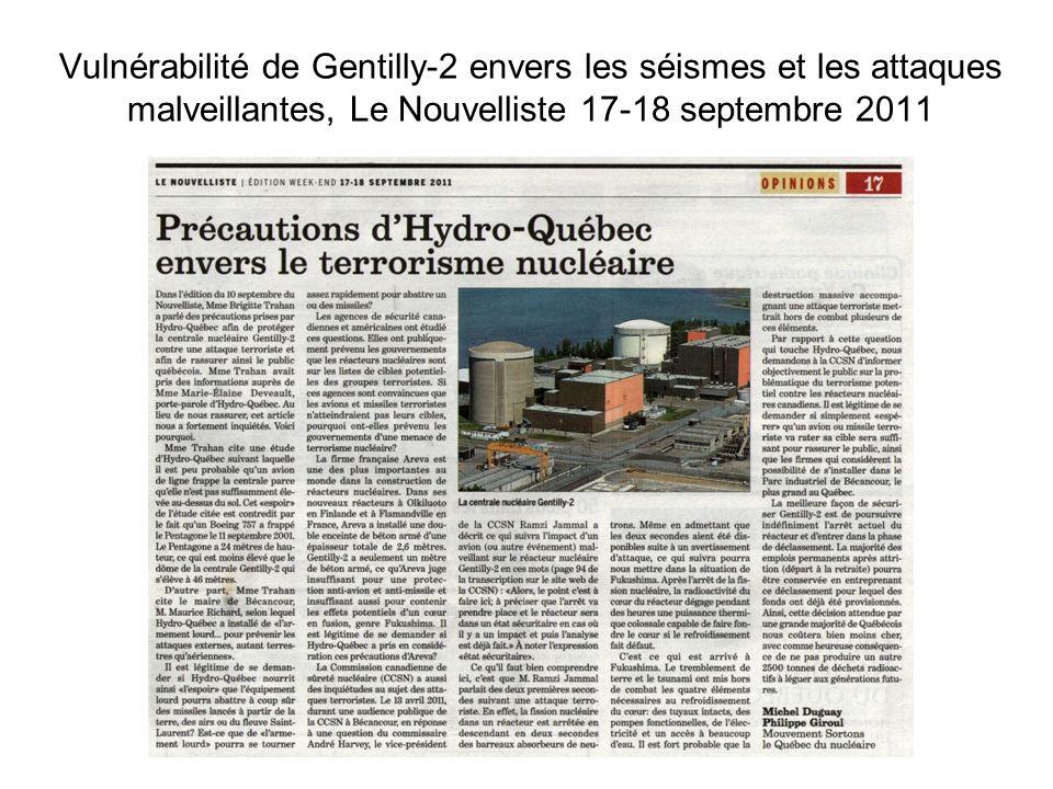 Vulnérabilité de Gentilly-2 envers les séismes et les attaques malveillantes, Le Nouvelliste 17-18 septembre 2011