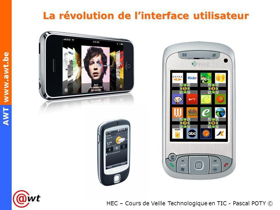 HEC – Cours de Veille Technologique en TIC - Pascal POTY © AWT www.awt.be La révolution de linterface utilisateur