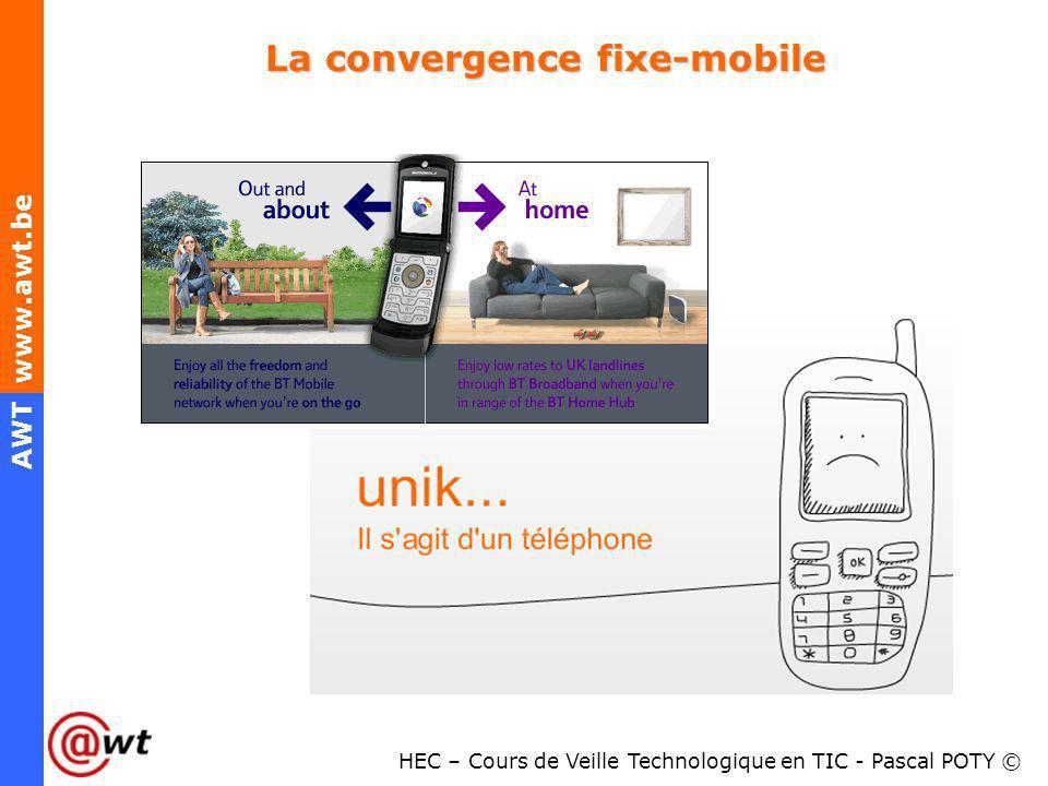 HEC – Cours de Veille Technologique en TIC - Pascal POTY © AWT www.awt.be La convergence fixe-mobile