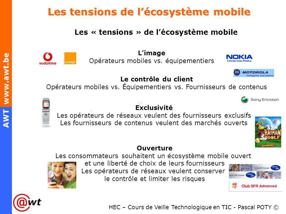 HEC – Cours de Veille Technologique en TIC - Pascal POTY © AWT www.awt.be Les tensions de lécosystème mobile Les « tensions » de lécosystème mobile Li