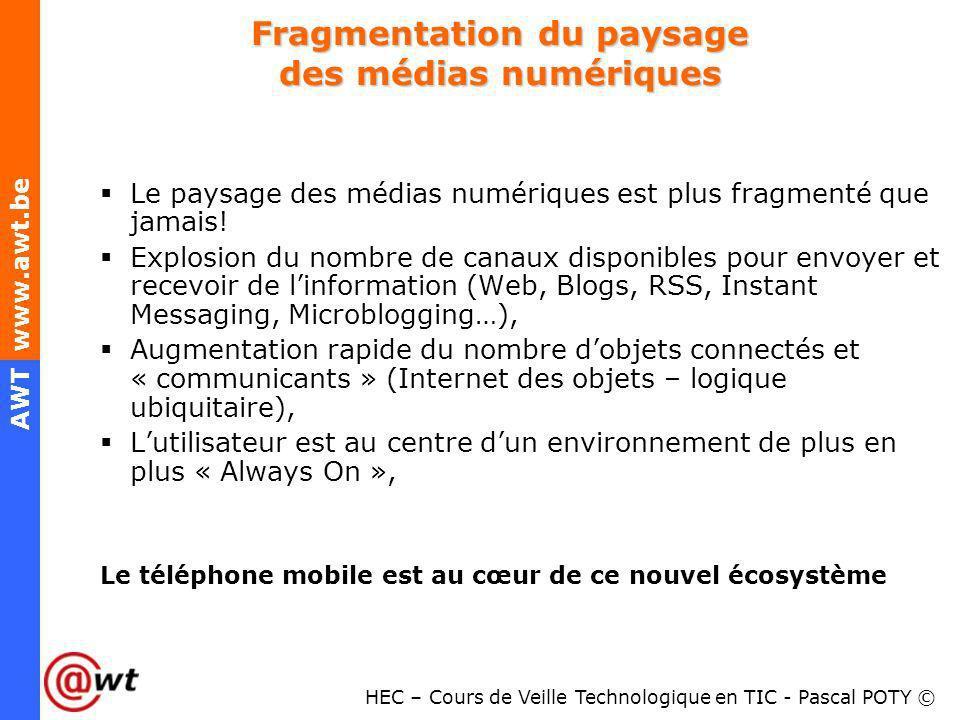 HEC – Cours de Veille Technologique en TIC - Pascal POTY © AWT www.awt.be Fragmentation du paysage des médias numériques Le paysage des médias numériq