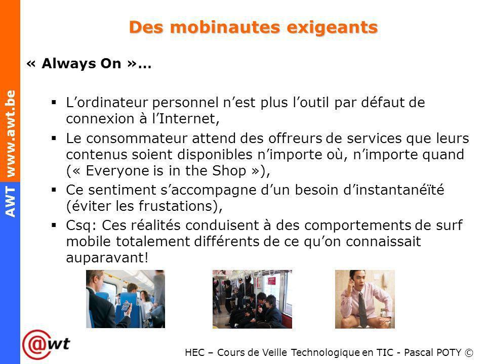 HEC – Cours de Veille Technologique en TIC - Pascal POTY © AWT www.awt.be Des mobinautes exigeants « Always On »… Lordinateur personnel nest plus lout
