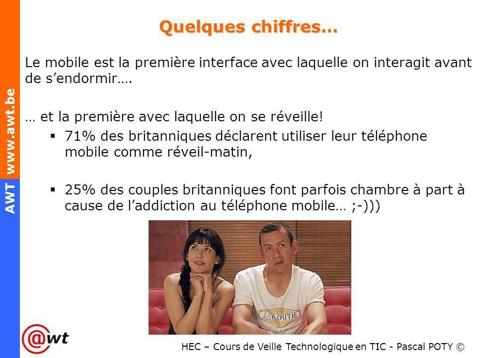 HEC – Cours de Veille Technologique en TIC - Pascal POTY © AWT www.awt.be Quelques chiffres… Le mobile est la première interface avec laquelle on inte