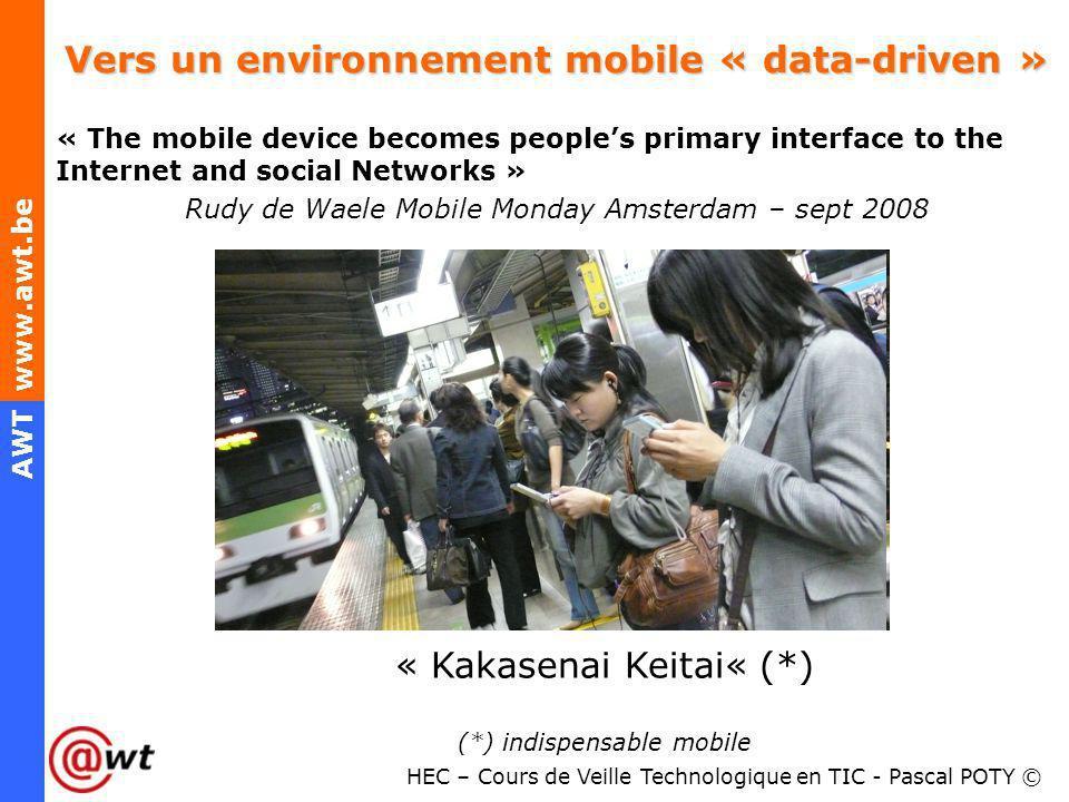HEC – Cours de Veille Technologique en TIC - Pascal POTY © AWT www.awt.be Vers un environnement mobile « data-driven » « The mobile device becomes peo