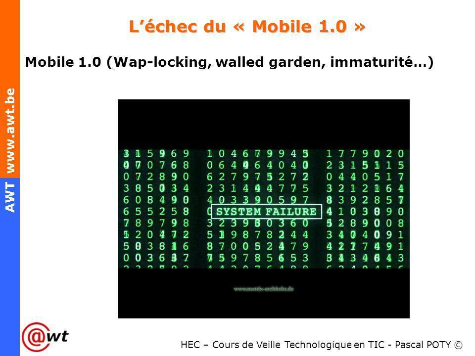 HEC – Cours de Veille Technologique en TIC - Pascal POTY © AWT www.awt.be Léchec du « Mobile 1.0 » Mobile 1.0 (Wap-locking, walled garden, immaturité…