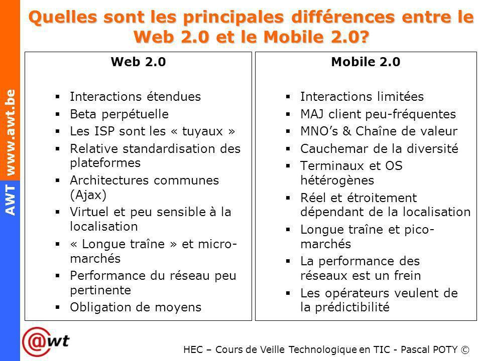 HEC – Cours de Veille Technologique en TIC - Pascal POTY © AWT www.awt.be Quelles sont les principales différences entre le Web 2.0 et le Mobile 2.0?