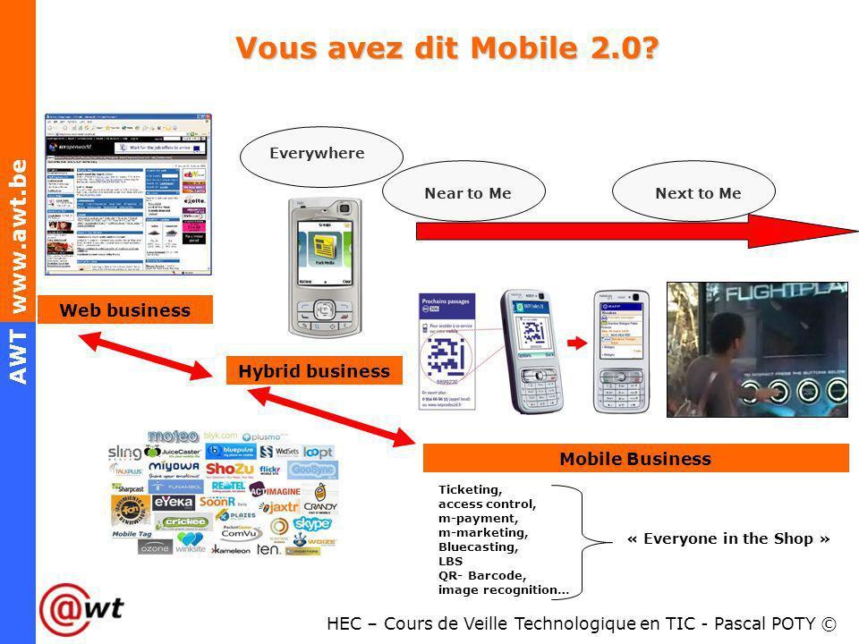 HEC – Cours de Veille Technologique en TIC - Pascal POTY © AWT www.awt.be Vous avez dit Mobile 2.0? Web business Hybrid business Mobile Business Near