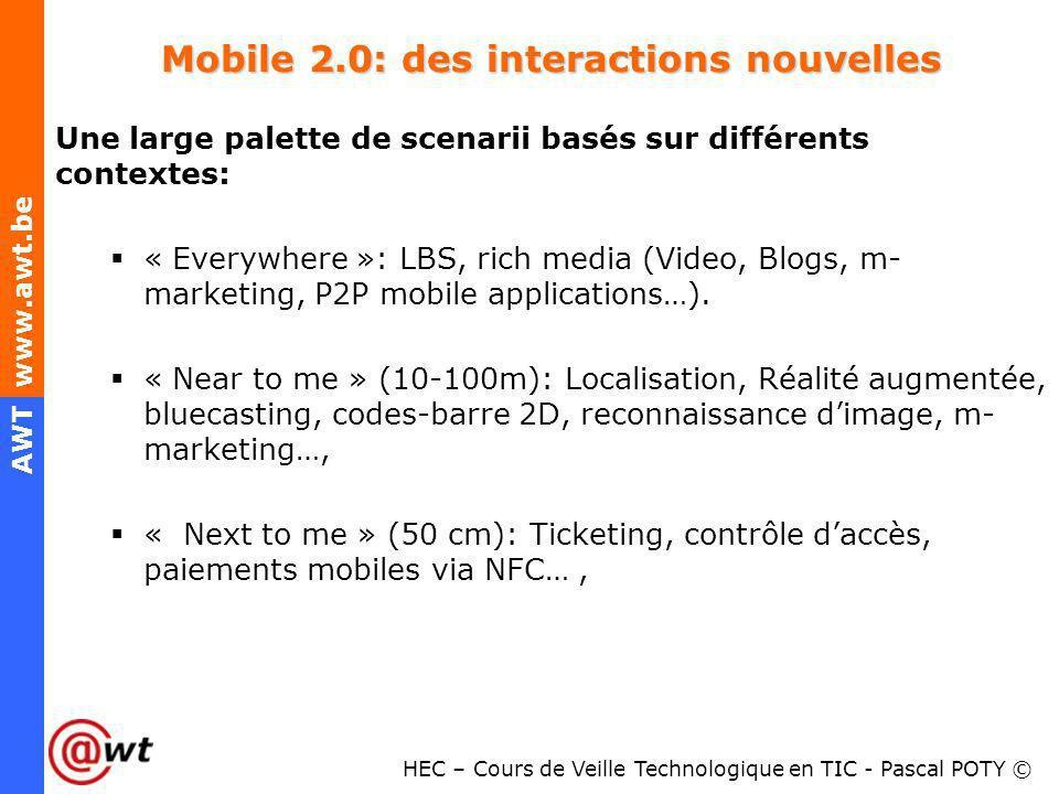 HEC – Cours de Veille Technologique en TIC - Pascal POTY © AWT www.awt.be Mobile 2.0: des interactions nouvelles Une large palette de scenarii basés s
